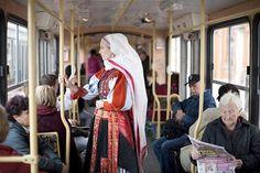 Kalotaszeg woman on a tram in Budapest