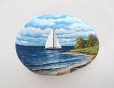 Paisaje pintura de la roca con barco en la playa por RockArtAttack