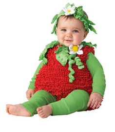 Adorable baby girl strawberry costume for Halloween! Could even use this for themed 1 year pictures or a birthday party! So sweet! #Chasing Fireflies #Wishcraft