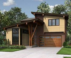 Contemporary House Plan with Vaulted Den - thumb - 24 Contemporary House Plans, Modern House Plans, Modern Garage, Open Concept Floor Plans, Facade House, Walk In Pantry, Future House, Custom Homes, Planer