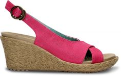Crocs Hot Pink / Chai Womens A-Leigh Linen Wedge Shoes from Crocs on Catalog Spree, my personal digital mall. Summer Wedges, Summer Shoes, Summer Sandals, Wedge Sandals, Wedge Shoes, Business Casual, Hot Pink, Espadrilles, Fashion Accessories