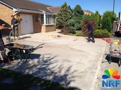 Northern Resin Flooring repairing existing patterned concrete surface with Logo.