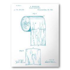 Toilet Paper Patent Poster | Toilet Paper Patent Art | Blueprint Art | Patent Wall Art | Bathroom Patent Print | Bathroom Art