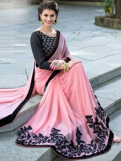 Fabulous Peach Colored Georgette Designer Saree