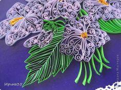 Part 4 of 4---Картина панно рисунок День рождения Квиллинг Фиалки Бумажные полосы Картон Клей фото 6