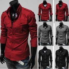 Mens Fashion Luxury Casual Slim Fit Stylish Solid Color Dress Shirts 3 Colors | eBay   Want the dark gray one