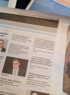 Presidentit, ulkoministerit, paavi ja minä Helsingin Sanomissa tärkeällä asialla. Kiitos, Helsingin Sanomat! Ja kiitos kuvasta Lauri Kuosmanen.   Presidents, Foreign Ministers, Pope and me on the biggest newspaper in Finland against terrorism.