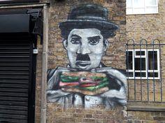 Charlie Chaplin , Union St. SE1 Street Art promoting a sandwich bar.