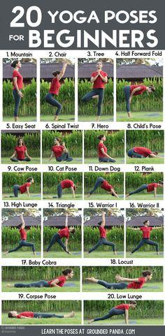 , Yoga poses for beginners: 20 beginner yoga poses for beginners and printable yoga poses to help you workout at home. , 20 yoga poses for beginners (+ free to print) Yoga Bewegungen, Yin Yoga, Yoga Meditation, Yoga Fitness, Physical Fitness, Fitness Exercises, Yoga Workouts, Yoga Exercises, Senior Fitness