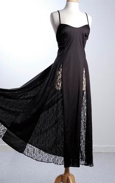 Vintage 70s Black Night Gown Nightgown Huge by StyleandSalvage, $60.00