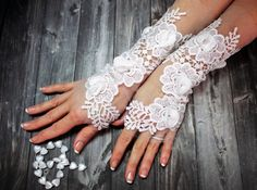 White Wedding Glove Lace Gloves Fingerless Glove Wedding Gown Unique Bridal Glove Wedding Bride Bridal Gloves Gift For Bride Gifts For Your Sister, Gifts For Your Girlfriend, Lace Gloves, Fingerless Gloves, Wedding Gloves, Ivoire, French Lace, Bridal Lace, Bride Gifts
