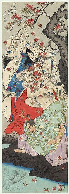 Taira Koremochi Vanquishes a Female Demon at Togakushi Mountain, 1887 by Yoshitoshi (1839 - 1892)