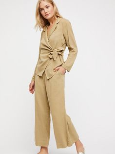 The Endless Summer Anya Set by at Free People Cuffed Pants, Wide Leg Trousers, Co Ords Outfits, Long Sleeve Wrap Top, Co Ord Sets, Travel Dress, Blazer Fashion, White Casual, Boho Tops