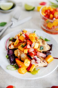 Whole30 - (Don't add honey to marinade) Grilled Mango Chicken with Strawberry Mango Salsa