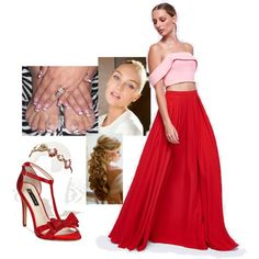 Pink and Red by sarabray on Polyvore featuring polyvore fashion style Fame & Partners INC International Concepts Deepa Gurnani clothing