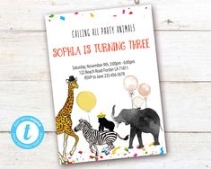 Editable Party Animals Birthday Invitation, Party Animals instant download invitation,You print birthday invitation, Party Animals DIY party Party Animals, Animal Party, Animal Birthday, Diy Party, Party Printables, Birthday Celebration, Birthday Invitations, Save Yourself, First Birthdays