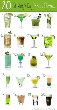20 Tasty St. Patty's Day Themed Drinks and Shooters...It's time to get your shamrock-shake on, ladies!...For the times when green beer just won't do – these awesome St. Patrick's Day themed drinks and shooters are sure to get you in the Irish spirit...