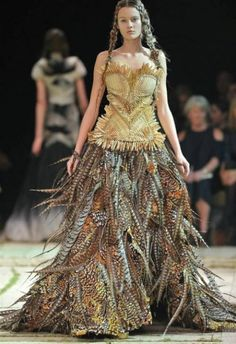 Stunning dress created with pheasant tails!