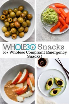 Whole30 Snacks - a list of over 17 Whole30 compliant snacks! Keep your snacking game interesting and satisfying! So many good ideas!