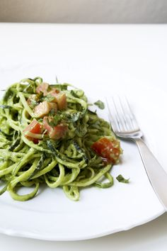 Zucchini Pasta with Avocado-Pepita Pesto. Raw, Vegan, Delicious.