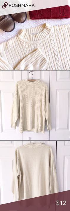 Soft Cream Cable Knit Sweater Soft and cozy cream cable knit sweater. Some pilling on sleeves and back. Perfect for any winter day, or to dress up for seasonal festivities! Haband Sweaters Crew & Scoop Necks