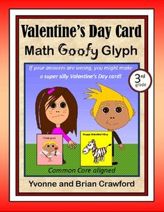 Valentine's Day Card Math Goofy Glyph  for 3rd grade - $