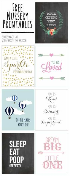 Free printable art for kids! Nursery printables, initial printables and more to decorate your child's bedroom. A couple of years ago, I did a post sharing 50 of my favorite free printables. I…