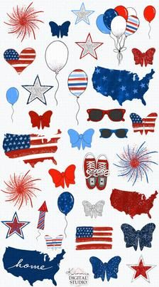 Land I Love Hand-drawn Clip-Art Of July Patriotic Easter Wallpaper, Summer Wallpaper, Wallpaper Iphone Cute, Colorful Wallpaper, Wallpaper Ideas, Iphone Wallpapers, Sticker Shop, Sticker Design, Printable Planner Stickers