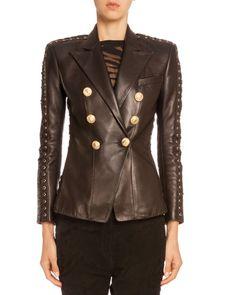 B32W9 Balmain Lace-Up-Sleeve Leather Jacket, Black