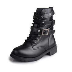 Just In Cambina Studded C... Shop Now! http://www.shopelettra.com/products/cambina-studded-combat-ankle-boots?utm_campaign=social_autopilot&utm_source=pin&utm_medium=pin