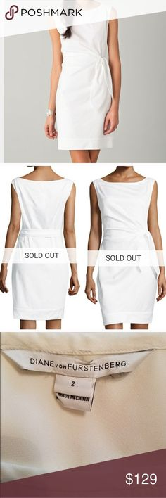 """$345 DVF New Della Side Tie Dress DVF New Della side waist tie in white. Side zipper. Fully lined. In excellent condition! Worn only once to my bridal shower. Approx. 36"""" long Bust: 17.75"""" (laying flat) Waist: 14.5"""" (laying flat) Diane Von Furstenberg Dresses"""