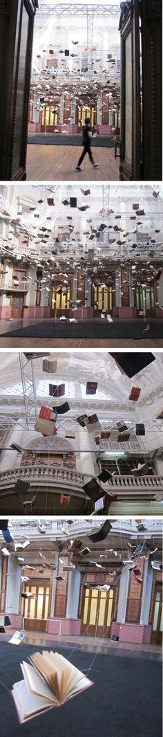 "Christian Boltansky (France, 1944) ""Flying Books"" instalation in memory of Jorge Luis Borges in Ex Biblioteca Nacional – Centro Nacional de la Música, Buenos Aires. photos Ingrid Roddick"