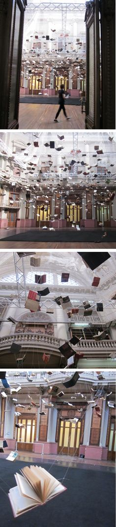 "Christian Boltansky (France, 1944) ""Flying Books"" instalation in memory of Jorge Luis Borges in Ex Biblioteca Nacional – Centro Nacional de la Música, Buenos Aires. photos Ingrid Roddick"