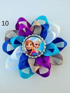 Frozen Disney Hair Bow.  Anna Elsa and Friends.  Bottle Cap Hair Bows on Etsy, $5.00
