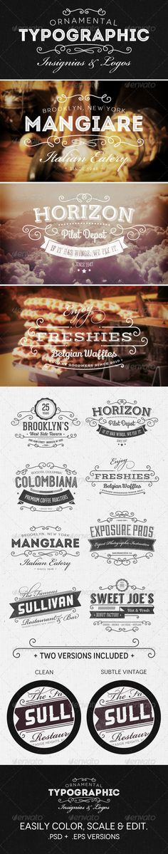 Web Elements - Ornamental Typographic Insignias | Logos | GraphicRiver