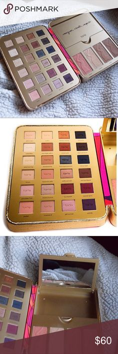 TARTE LIMITED EDITION Pretty Paintbox A custom collector's case, packed with limited-edition tarteist essentials. Includes 24 limited edition eyeshadow shades, and a 4 shade/piece cheek palette! Tarte no longer makes this palette so it's a rare find! I have only used this a handful of times and it's in great condition. Make me a reasonable offer and I'll take it! Comment with questions and don't forget my bundle 25% discount that comes with a free gift! tarte Makeup