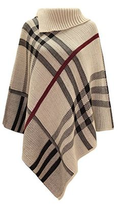 Women's Checked Knitted #WinterPoncho Red Band Wrap #Shawlcape #fallfashion #winteroutfits Jumper, Poncho Sweater, Knitted Poncho, Pull Poncho, Poncho Shawl, Red Shawl, Tartan, Winter Poncho, Winter Cape
