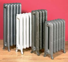 decorative cast iron electric radiators in front of a pink wall. Diy Renovation, Iron, Steel Columns, Rustic Design, French Design, Radiators, Heating And Cooling, Living Room Accessories, Pink Walls
