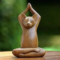 Buy Wood sculpture, 'Toward the Sky Brown Yoga Cat' today. Shop unique, award-winning Artisan treasures by NOVICA, the Impact Marketplace. Crazy Cat Lady, Crazy Cats, Sky Brown, Brown Cat, Cat Decor, Wooden Art, Wood Sculpture, Sculpture Ideas, Oeuvre D'art