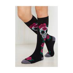 Hemming and Haunting Socks ($13) ❤ liked on Polyvore featuring intimates, hosiery, socks, black, foundation, knee-high sock, knee hi socks, knee socks, knee length socks and knee high socks