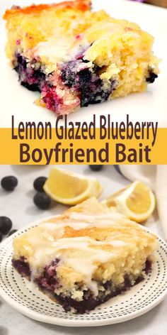 Lemon Glazed Blueberry Boyfriend Bait is so. Lemon Glazed Blueberry Boyfriend Bait is so soft and moist. The blueberry and lemon flavors are perfect together this is truly a cake you wont forget. Blueberry Desserts, Lemon Desserts, Köstliche Desserts, Blueberry Recipes For Two, Recipes With Fresh Blueberries, Desserts With Blueberries, Healthy Blackberry Recipes, Blueberry Lemon Recipes, Easy Yummy Desserts