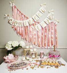 Decoraciones fiesta de cumpleaños de rosa y por ConfettiMommaParty