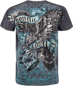 90ce67eb Eagle Clutching Crown Metallic Silver Embossed Short Sleeve Crew Neck  Cotton Mens Fashion T-Shirt