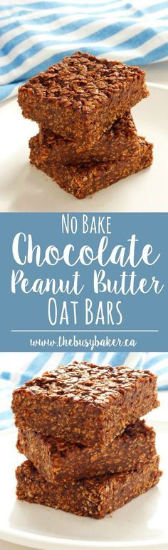 These No-Bake Chocolate Peanut Butter Oat Bars are the perfect easy-to-make gluten-free treat! www.thebusybaker.ca
