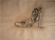 Karl Mazuś, Akt, kredka na papierze,47 x 64cm