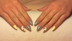 Gray & Yellow nails