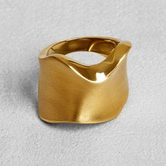Petit Sesame | Ip gold arctic ring | Designed by Petit sesame | $13.00 | Golden ip coated stainless steel corrugated ring