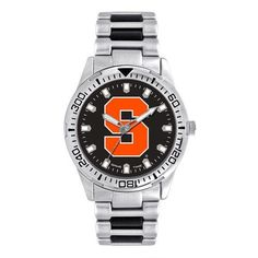 Put a little flash into your wardrobe.  The Syracuse Orange team logo accented by the matte black face and silver bezel giving this mans watch a professional yet sporty style great for the business man or sports enthusiast.  Stainless steel construction, two-tone alloy link band, with scratch resistant crystal quartz movement.  Water resistant to 99 feet.  Limited Lifetime warranty.  The Heavy Hitter of watches. SPECS  Water Resistant:  99 feet/3 ATM Battery:  SR626 (1) Weight:  .25 lb W...