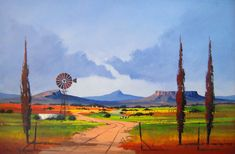 Pieter van Heerden - Colourful Freestate Scene 2 x Abstract Landscape, Landscape Paintings, Abstract Art, Windmill Art, Paintings I Love, Oil Paintings, Composition Art, African Paintings, South African Artists