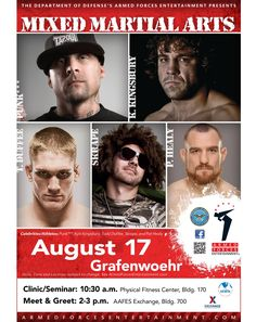 """Armed Forces Entertainment Brings You Mixed Martial Arts Athletes August 17  Kyle Kingsbury, Todd Duffee, Pat """"Bam-Bam"""" Healy, Dan Caldwell (""""Punk***"""") and Tim Katz (""""SkySkrape""""), all amazing athletes renowned in the martial arts world, will be demonstrating their fighting techniques in a Clinic/Seminar at 10:30 a.m. at the Tower Barracks Physical Fitness Center. Doors open at 10 a.m. The fighters will mingle with Soldiers and Families at the AAFES Exchange at 2 p.m. for a Meet & Greet."""
